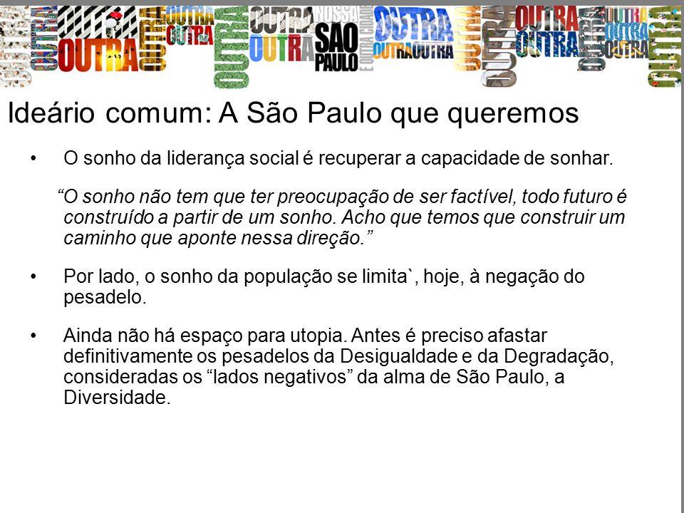 """Ideário comum: A São Paulo que queremos O sonho da liderança social é recuperar a capacidade de sonhar. """"O sonho não tem que ter preocupação de ser fa"""