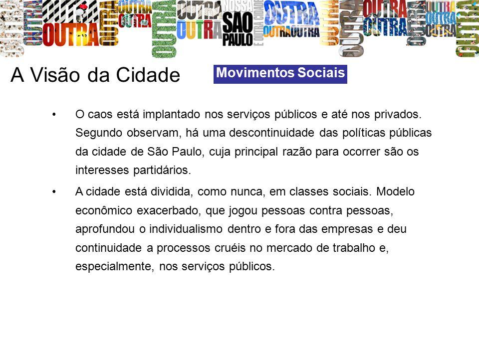 A Visão da Cidade Movimentos Sociais O caos está implantado nos serviços públicos e até nos privados. Segundo observam, há uma descontinuidade das pol