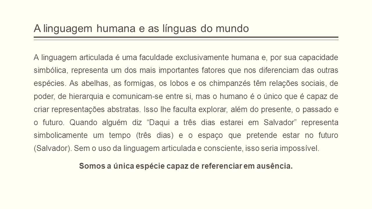A linguagem humana e as línguas do mundo A linguagem articulada é uma faculdade exclusivamente humana e, por sua capacidade simbólica, representa um d