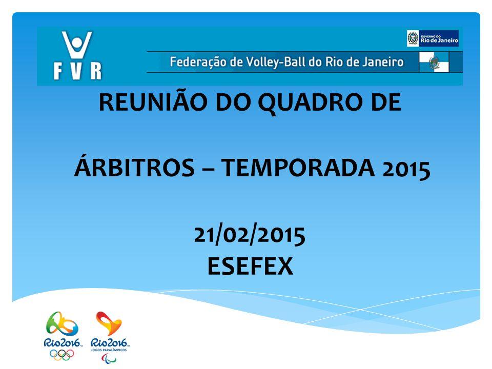 REUNIÃO DO QUADRO DE ÁRBITROS – TEMPORADA 2015 21/02/2015 ESEFEX