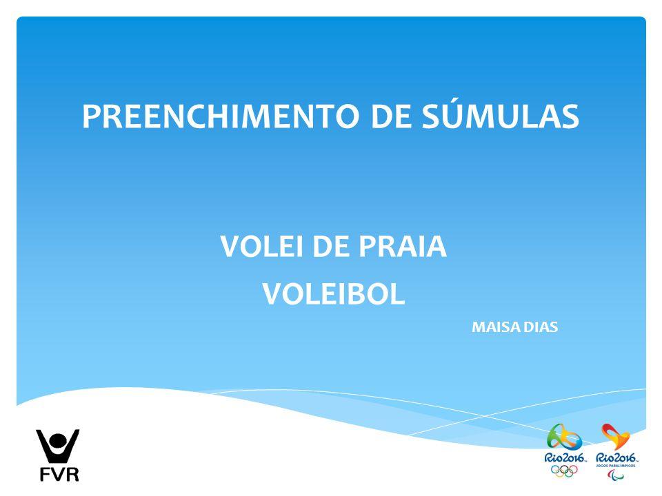 VOLEI DE PRAIA VOLEIBOL MAISA DIAS PREENCHIMENTO DE SÚMULAS