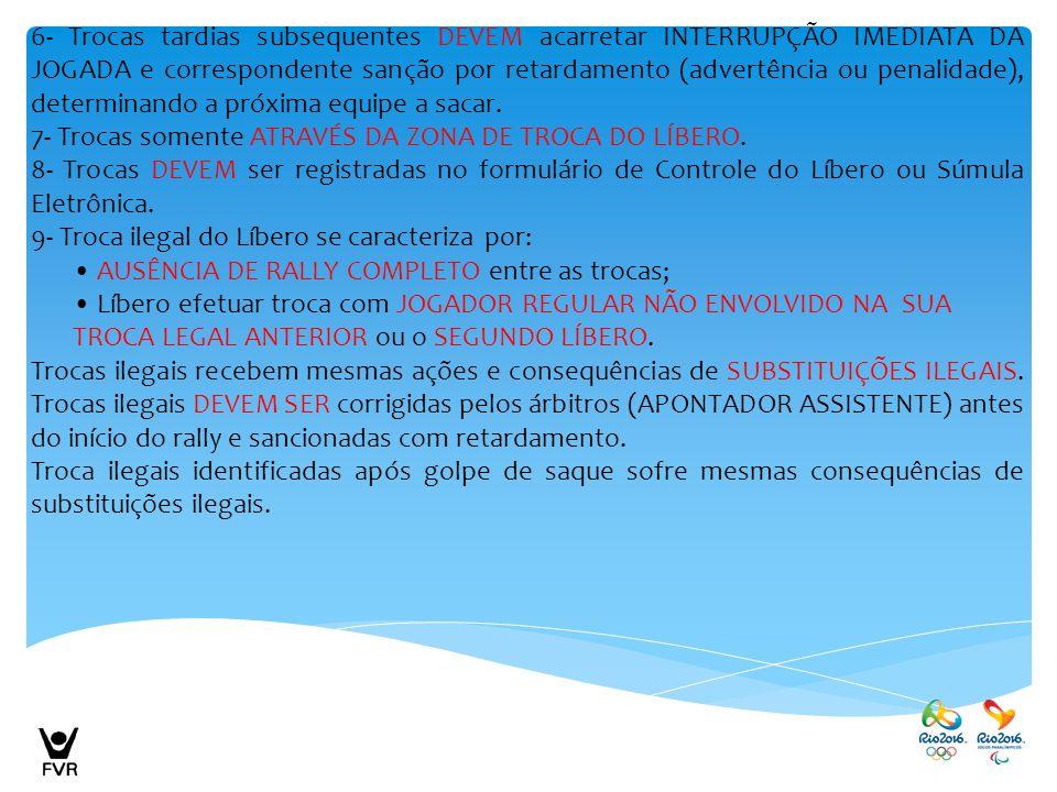 6- Trocas tardias subsequentes DEVEM acarretar INTERRUPÇÃO IMEDIATA DA JOGADA e correspondente sanção por retardamento (advertência ou penalidade), de