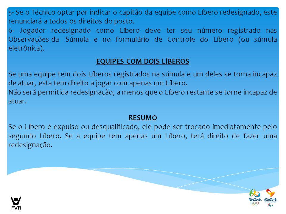 5- Se o Técnico optar por indicar o capitão da equipe como Líbero redesignado, este renunciará a todos os direitos do posto. 6- Jogador redesignado co