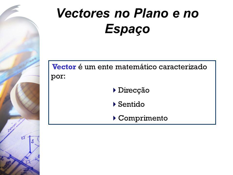 Vectores no Plano e no Espaço Vector é um ente matemático caracterizado por:  Direcção  Sentido  Comprimento