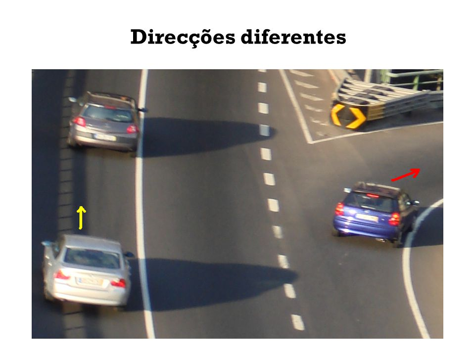 Indica as viaturas que: A B C Circulam na mesma direcção; - B, C Circulam em direcções diferentes; - A Circulam no mesmo sentido; - Nenhum Circulam em sentidos opostos; - B, C