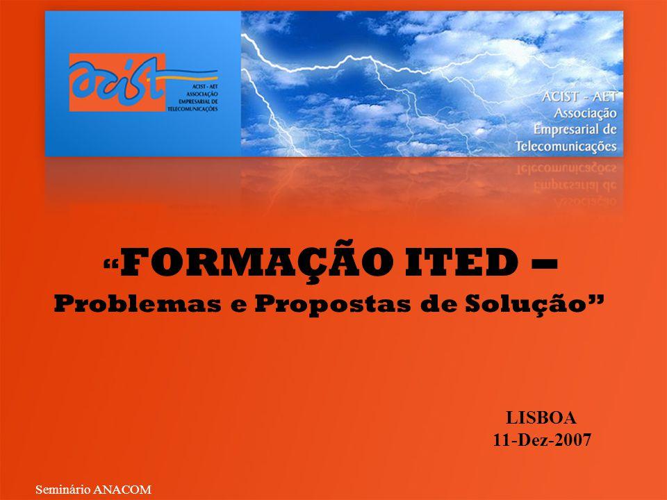 FORMAÇÃO ITED – Problemas e Propostas de Solução LISBOA 11-Dez-2007 Seminário ANACOM