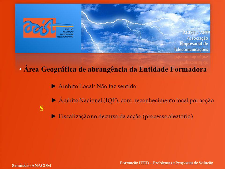 Área Geográfica de abrangência da Entidade Formadora ► Âmbito Local: Não faz sentido ► Âmbito Nacional (IQF), com reconhecimento local por acção ► Fis