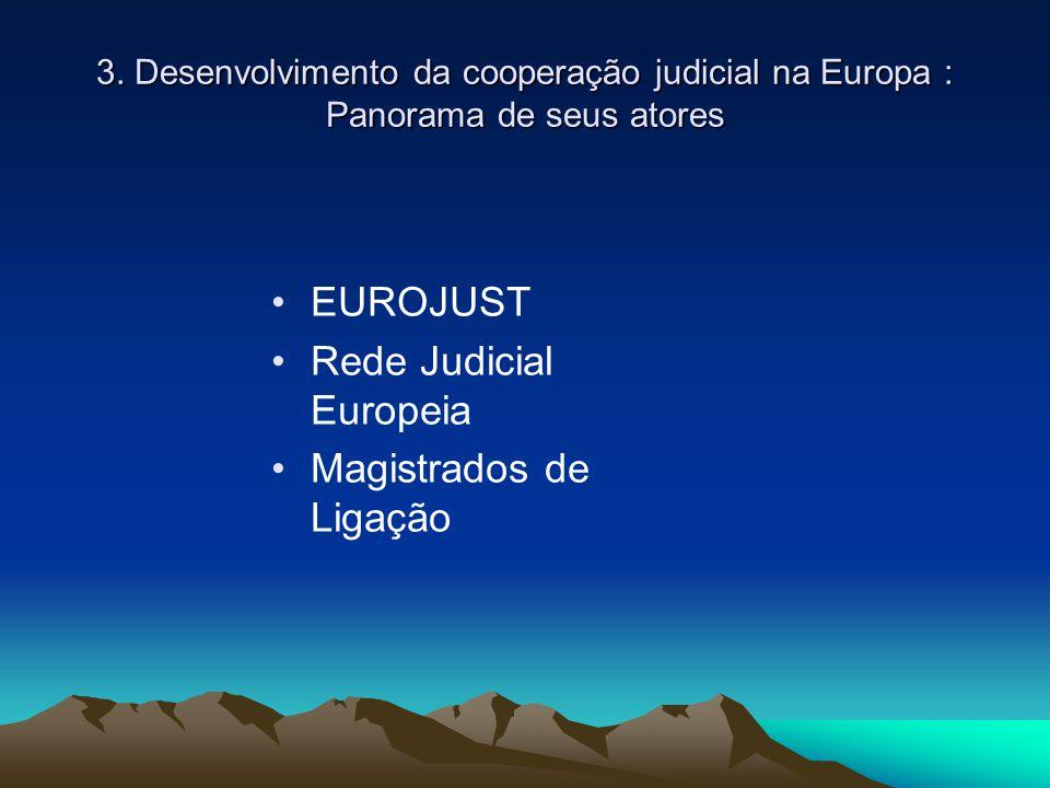 3. Desenvolvimento da cooperação judicial na Europa : Panorama de seus atores EUROJUST Rede Judicial Europeia Magistrados de Ligação