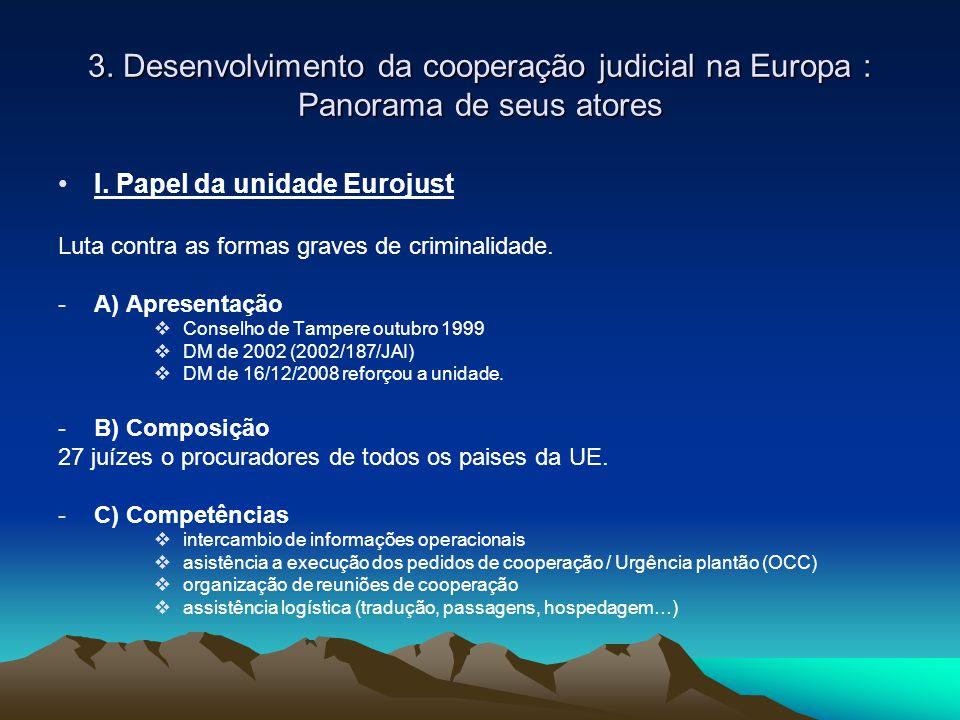3. Desenvolvimento da cooperação judicial na Europa : Panorama de seus atores I. Papel da unidade Eurojust Luta contra as formas graves de criminalida