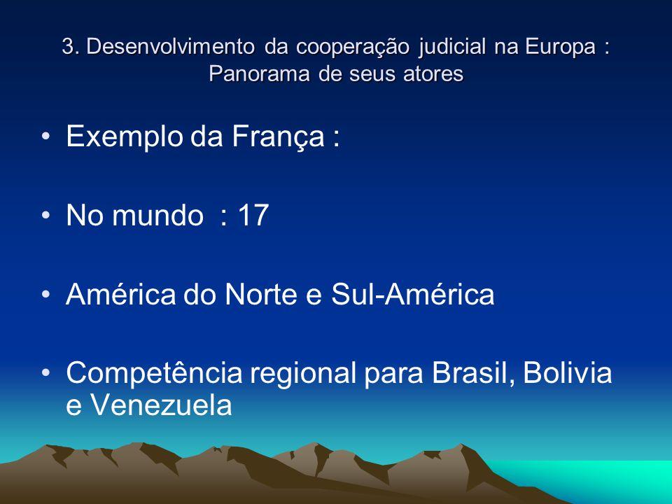 3. Desenvolvimento da cooperação judicial na Europa : Panorama de seus atores Exemplo da França : No mundo : 17 América do Norte e Sul-América Competê