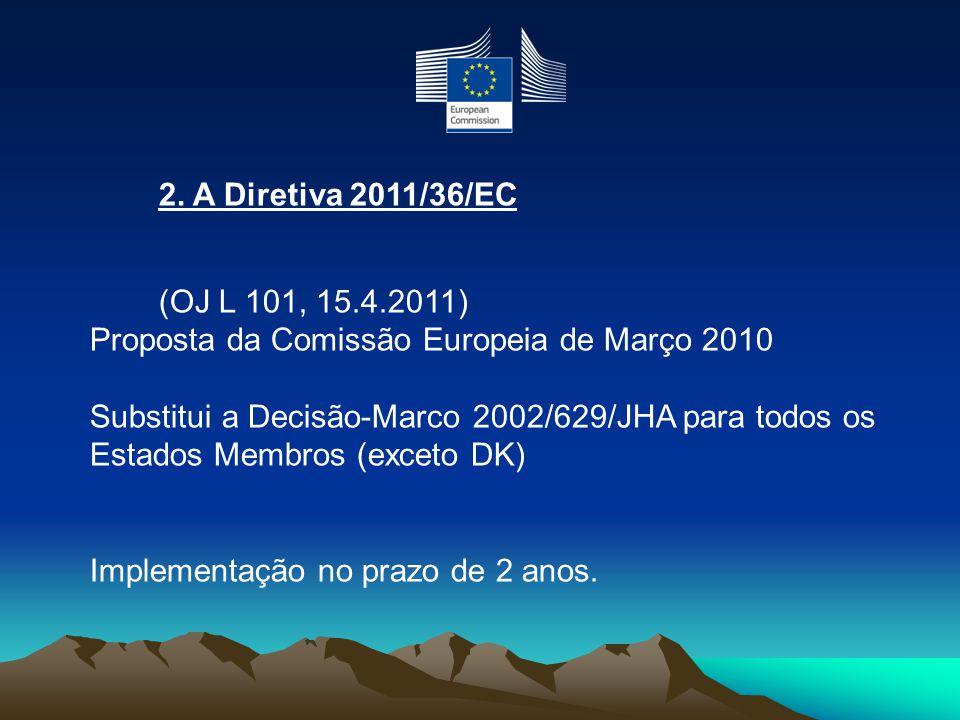 2. A Diretiva 2011/36/EC (OJ L 101, 15.4.2011) Proposta da Comissão Europeia de Março 2010 Substitui a Decisão-Marco 2002/629/JHA para todos os Estado