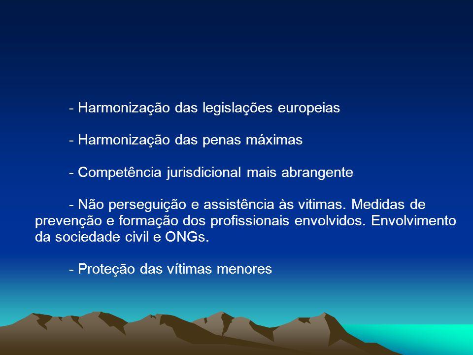 - Harmonização das legislações europeias - Harmonização das penas máximas - Competência jurisdicional mais abrangente - Não perseguição e assistência