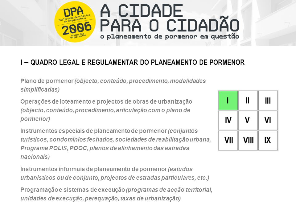Plano de pormenor (objecto, conteúdo, procedimento, modalidades simplificadas) Operações de loteamento e projectos de obras de urbanização (objecto, c