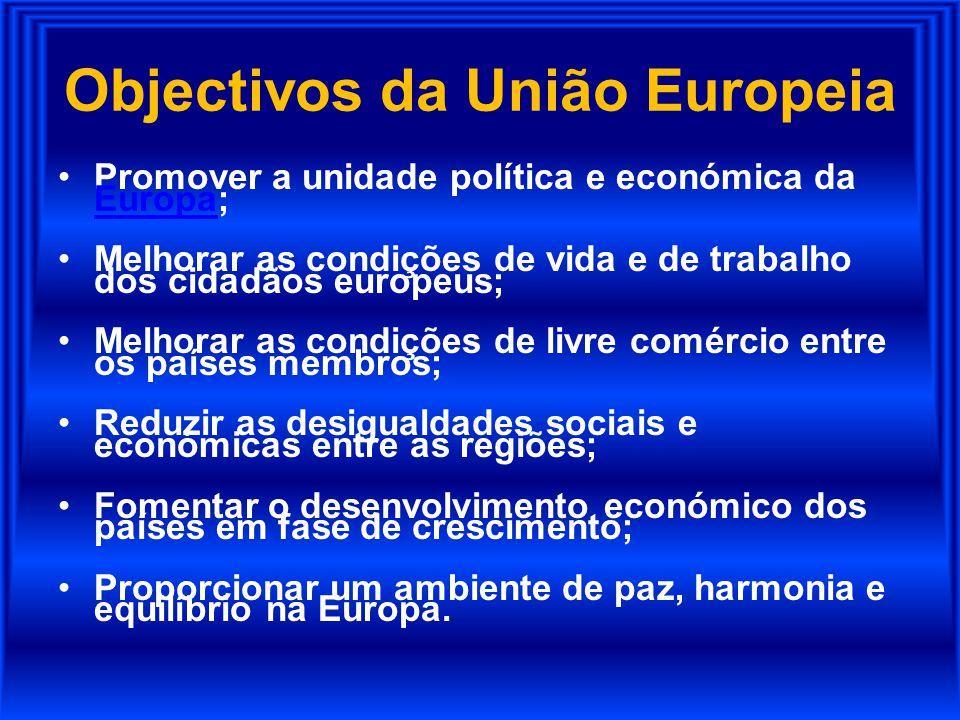 Objectivos da União Europeia Promover a unidade política e económica da Europa; Europa Melhorar as condições de vida e de trabalho dos cidadãos europe