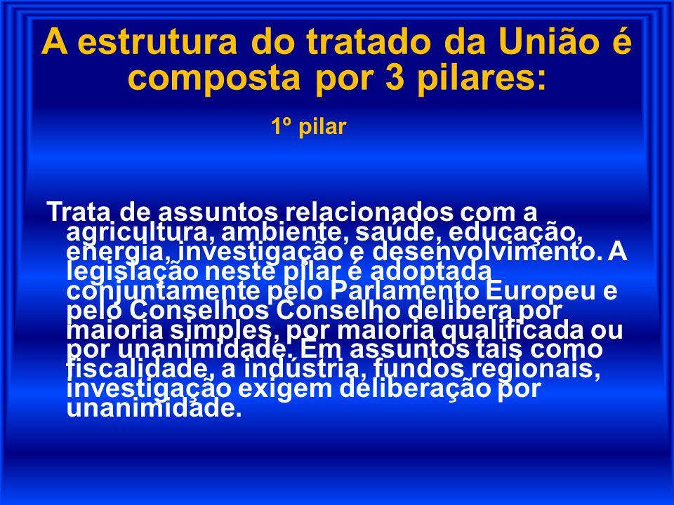 A estrutura do tratado da União é composta por 3 pilares: 1º pilar Trata de assuntos relacionados com a agricultura, ambiente, saúde, educação, energi