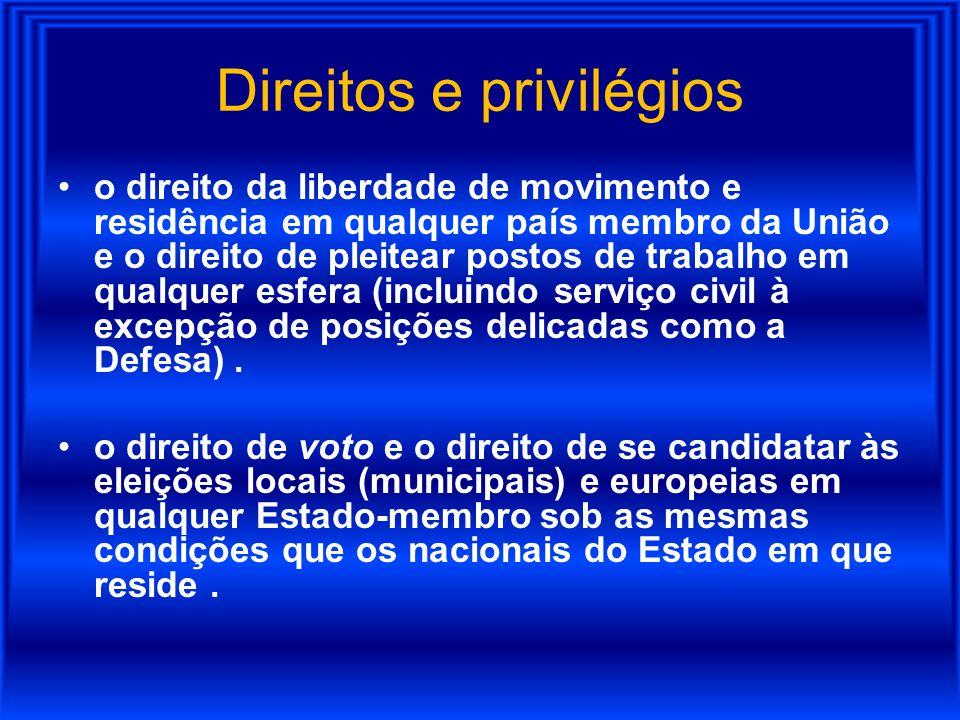 Direitos e privilégios o direito da liberdade de movimento e residência em qualquer país membro da União e o direito de pleitear postos de trabalho em
