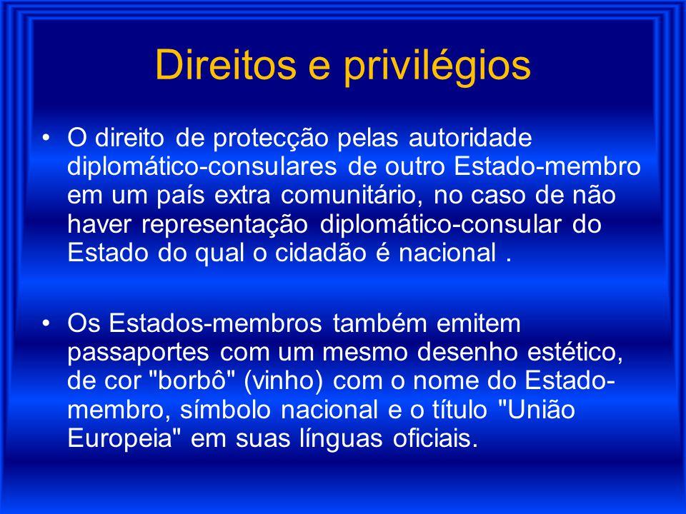 Direitos e privilégios O direito de protecção pelas autoridade diplomático-consulares de outro Estado-membro em um país extra comunitário, no caso de