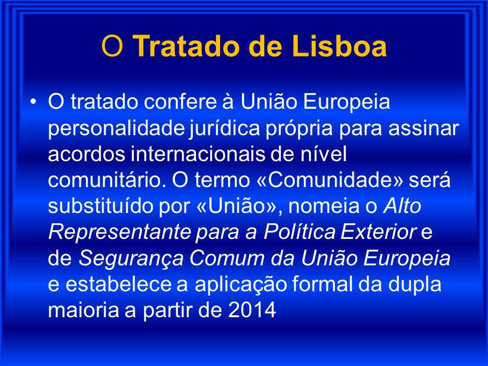 O Tratado de Lisboa O tratado confere à União Europeia personalidade jurídica própria para assinar acordos internacionais de nível comunitário. O term
