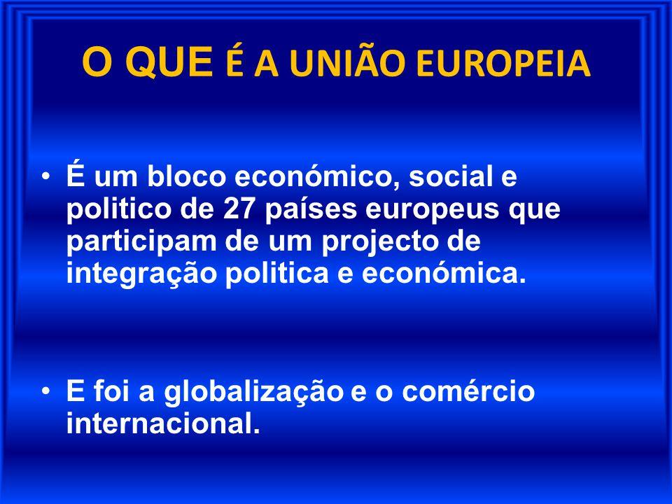 O QUE É A UNIÃO EUROPEIA É um bloco económico, social e politico de 27 países europeus que participam de um projecto de integração politica e económic