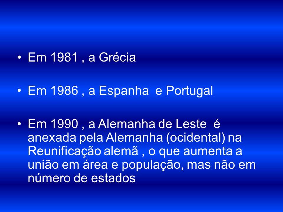 Em 1981, a Grécia Em 1986, a Espanha e Portugal Em 1990, a Alemanha de Leste é anexada pela Alemanha (ocidental) na Reunificação alemã, o que aumenta