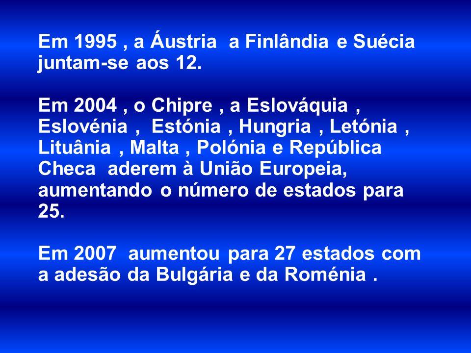 Em 1995, a Áustria a Finlândia e Suécia juntam-se aos 12. Em 2004, o Chipre, a Eslováquia, Eslovénia, Estónia, Hungria, Letónia, Lituânia, Malta, Poló