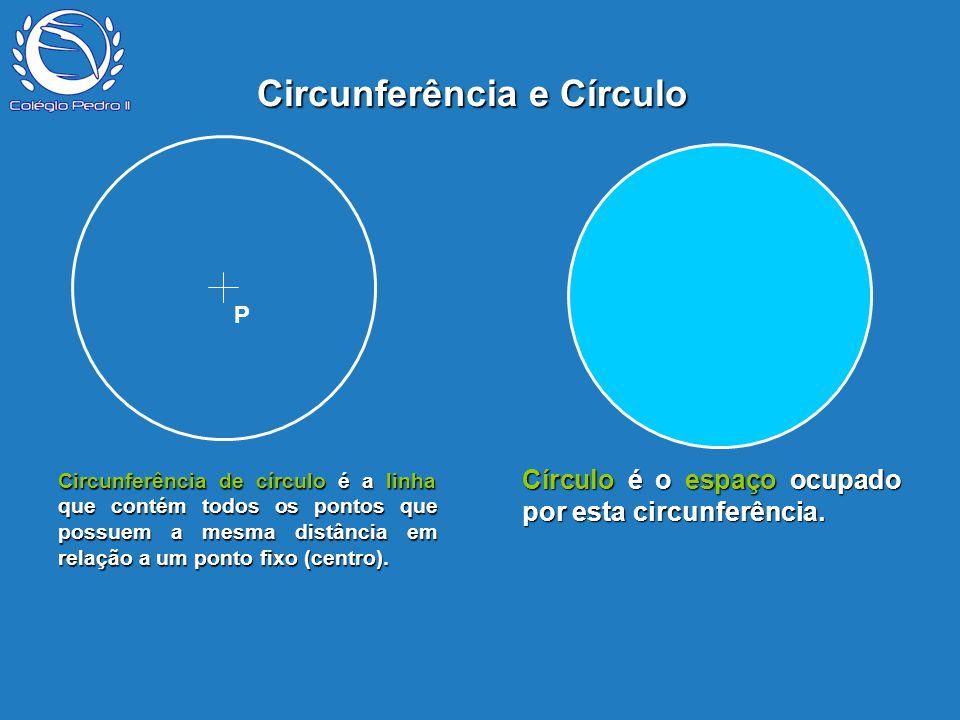 Circunferência de círculo é a linha que contém todos os pontos que possuem a mesma distância em relação a um ponto fixo (centro). P Circunferência e C