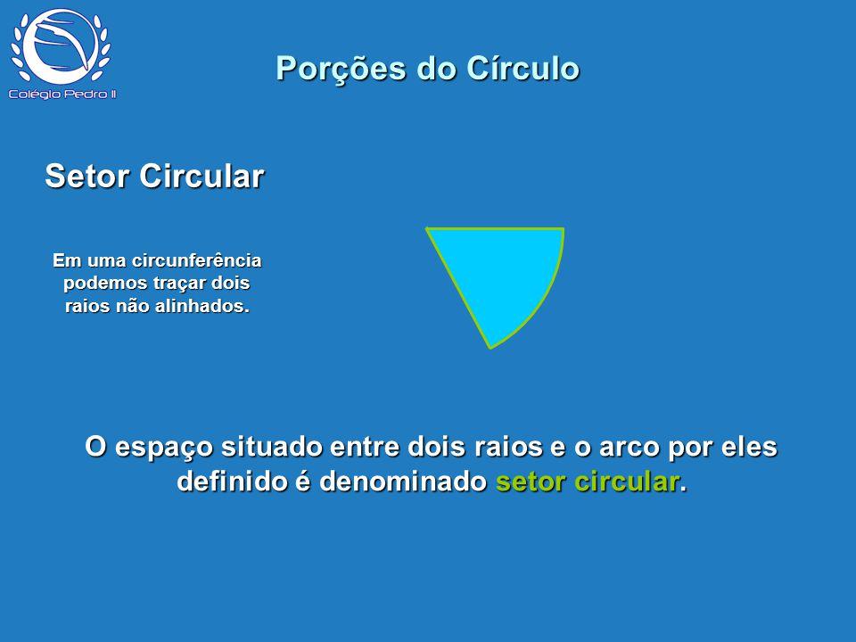 P Porções do Círculo Setor Circular Em uma circunferência podemos traçar dois raios não alinhados. O espaço situado entre dois raios e o arco por eles