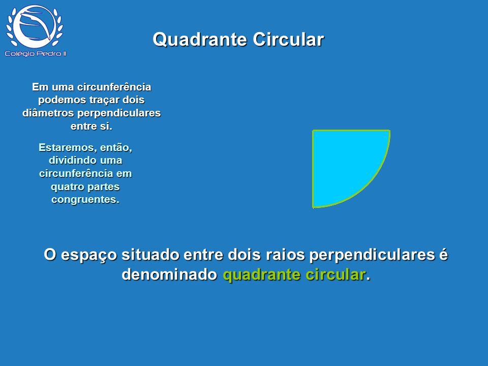 P O espaço situado entre dois raios perpendiculares é denominado quadrante circular. Quadrante Circular Em uma circunferência podemos traçar dois diâm
