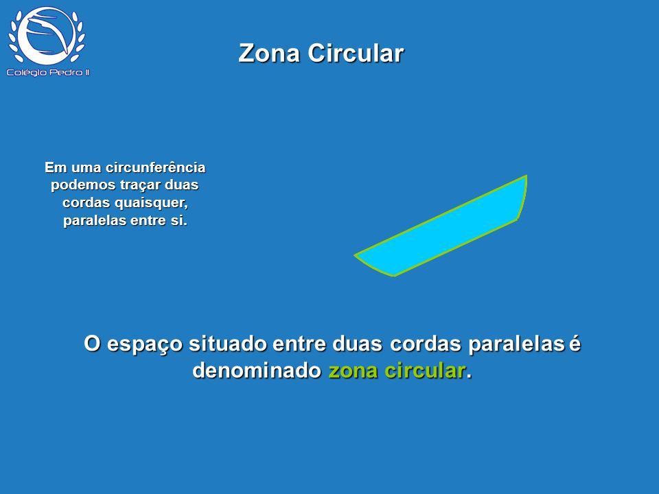 Zona Circular P O espaço situado entre duas cordas paralelas é denominado zona circular. Em uma circunferência podemos traçar duas cordas quaisquer, p