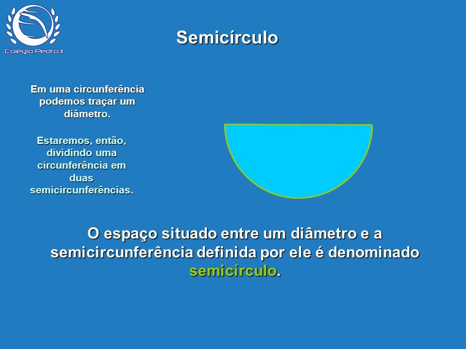P O espaço situado entre um diâmetro e a semicircunferência definida por ele é denominado semicírculo. Semicírculo Em uma circunferência podemos traça