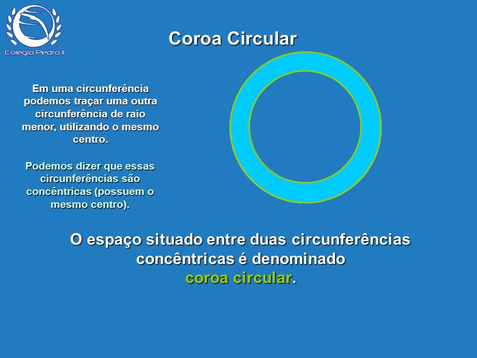 P O espaço situado entre duas circunferências concêntricas é denominado coroa circular. Coroa Circular Em uma circunferência podemos traçar uma outra