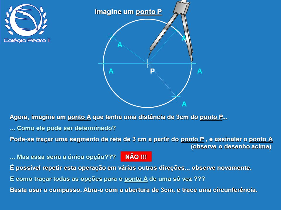 P A A A A A Agora, imagine um ponto A que tenha uma distância de 3cm do ponto P... Agora, imagine um ponto A que tenha uma distância de 3cm do ponto P