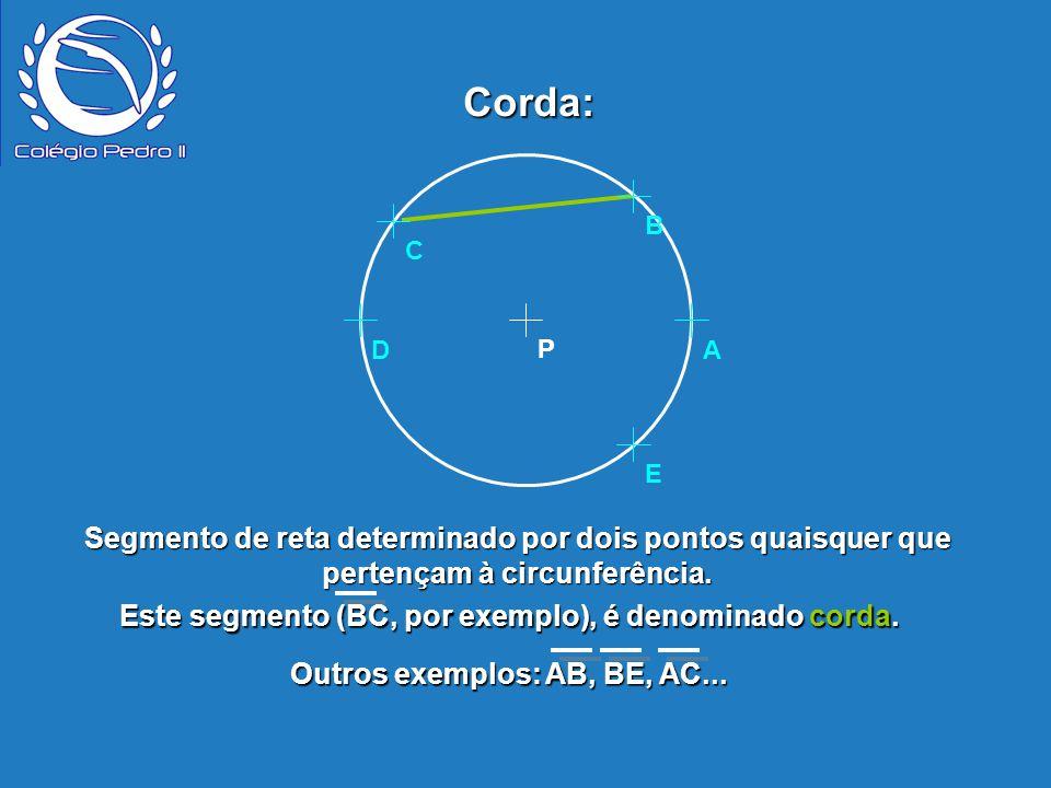 Segmento de reta determinado por dois pontos quaisquer que pertençam à circunferência. P B E D A C Corda: Este segmento (BC, por exemplo), é denominad