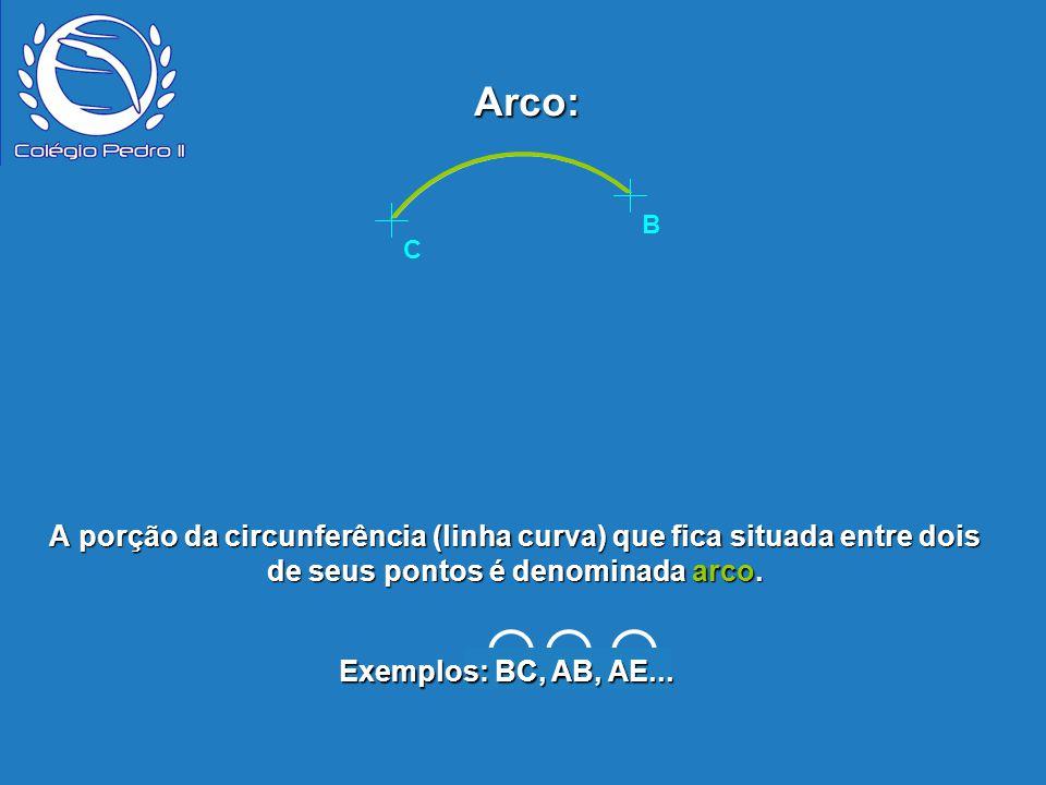 P B E D A C Arco: Exemplos: BC, AB, AE... C B A porção da circunferência (linha curva) que fica situada entre dois de seus pontos é denominada arco.