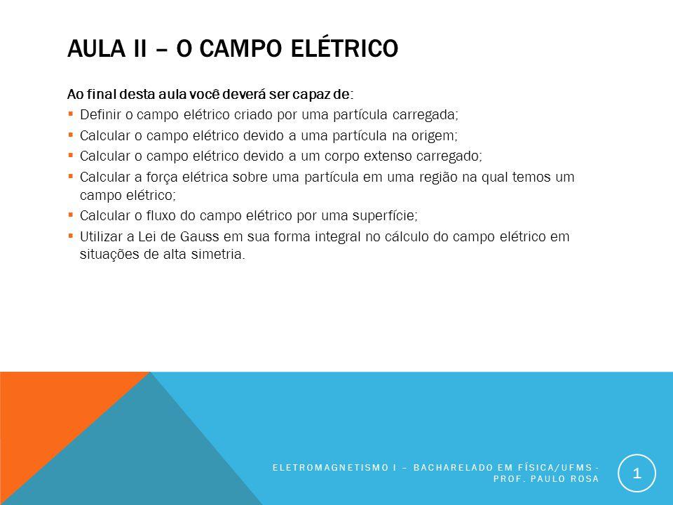 AULA II – O CAMPO ELÉTRICO Ao final desta aula você deverá ser capaz de:  Definir o campo elétrico criado por uma partícula carregada;  Calcular o c