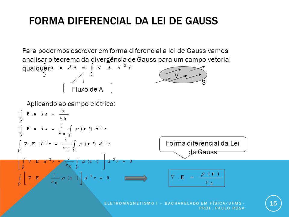 FORMA DIFERENCIAL DA LEI DE GAUSS ELETROMAGNETISMO I – BACHARELADO EM FÍSICA/UFMS - PROF. PAULO ROSA 15 Para podermos escrever em forma diferencial a
