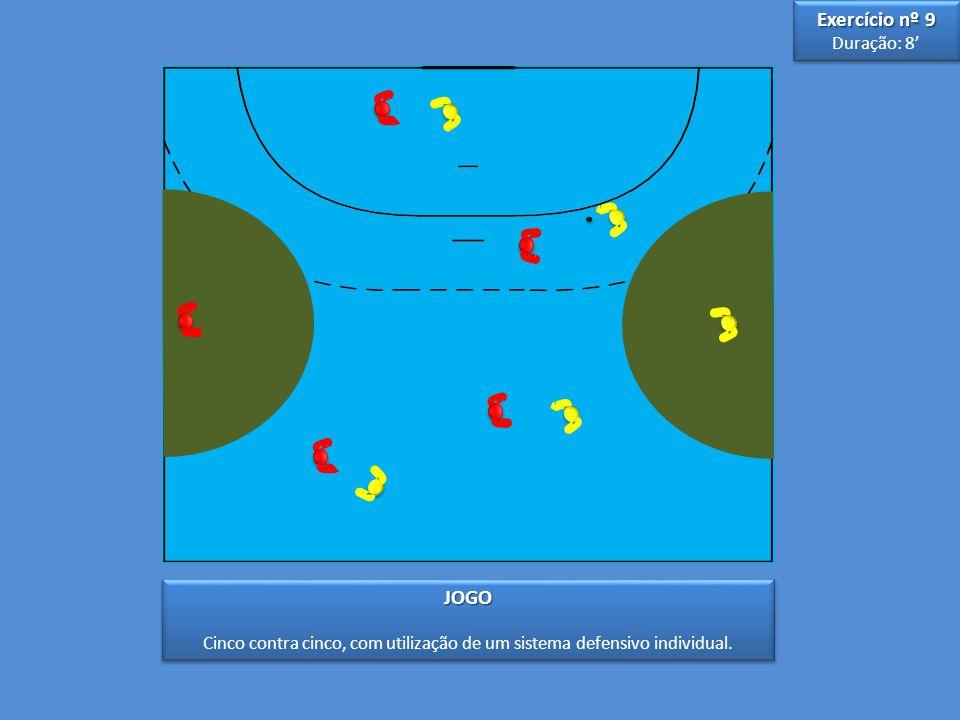 3 3 5 5 JOGO Cinco contra cinco, com utilização de um sistema defensivo individual.JOGO Exercício nº 9 Duração: 8' Exercício nº 9 Duração: 8'