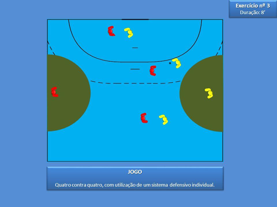 3 3 5 5 JOGO Quatro contra quatro, com utilização de um sistema defensivo individual.JOGO Exercício nº 3 Duração: 8' Exercício nº 3 Duração: 8'