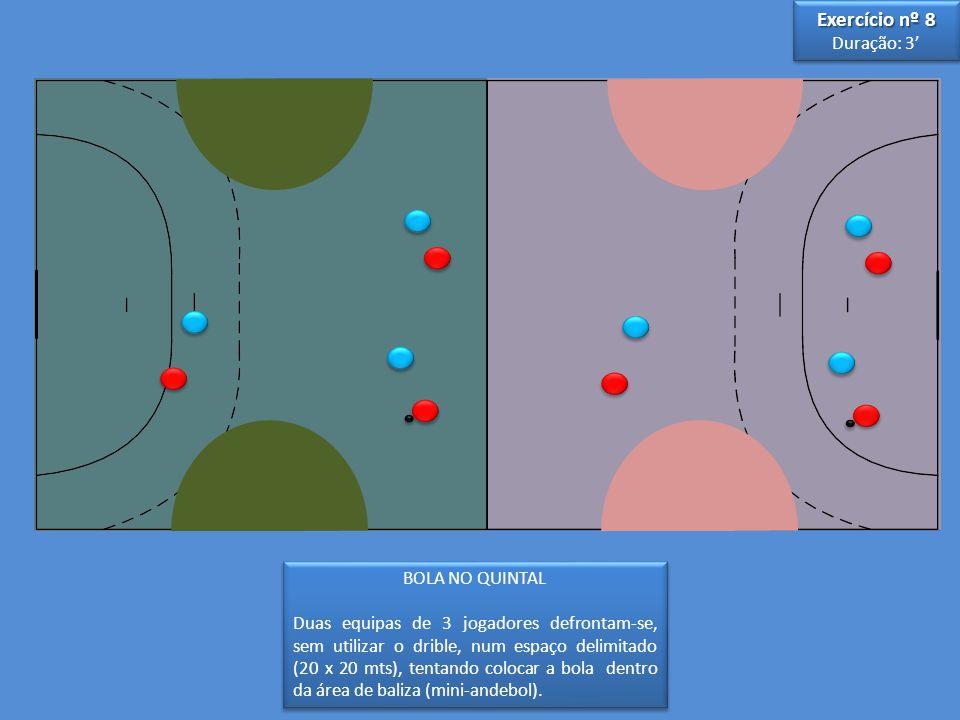 BOLA NO QUINTAL Duas equipas de 3 jogadores defrontam-se, sem utilizar o drible, num espaço delimitado (20 x 20 mts), tentando colocar a bola dentro da área de baliza (mini-andebol).