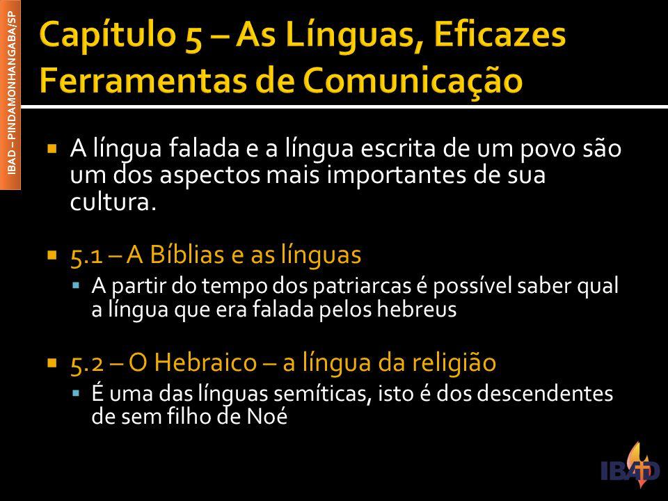 IBAD – PINDAMONHANGABA/SP  A língua falada e a língua escrita de um povo são um dos aspectos mais importantes de sua cultura.