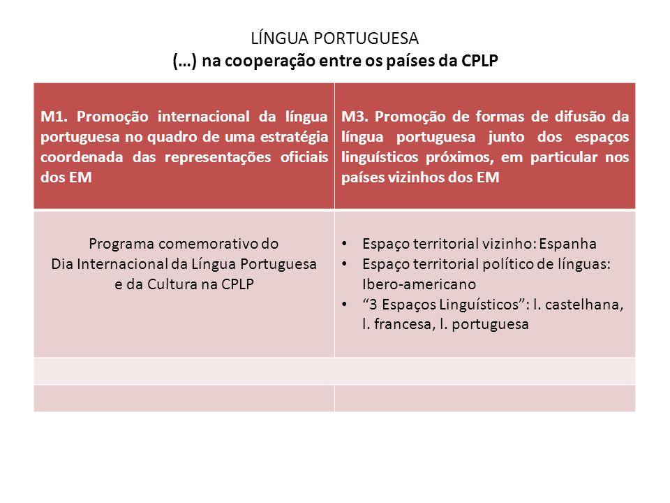 LÍNGUA PORTUGUESA (…) na cooperação entre os países da CPLP M1. Promoção internacional da língua portuguesa no quadro de uma estratégia coordenada das