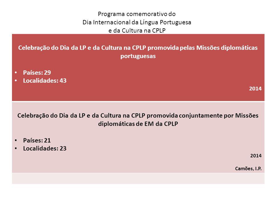 Programa comemorativo do Dia Internacional da Língua Portuguesa e da Cultura na CPLP Celebração do Dia da LP e da Cultura na CPLP promovida pelas Miss