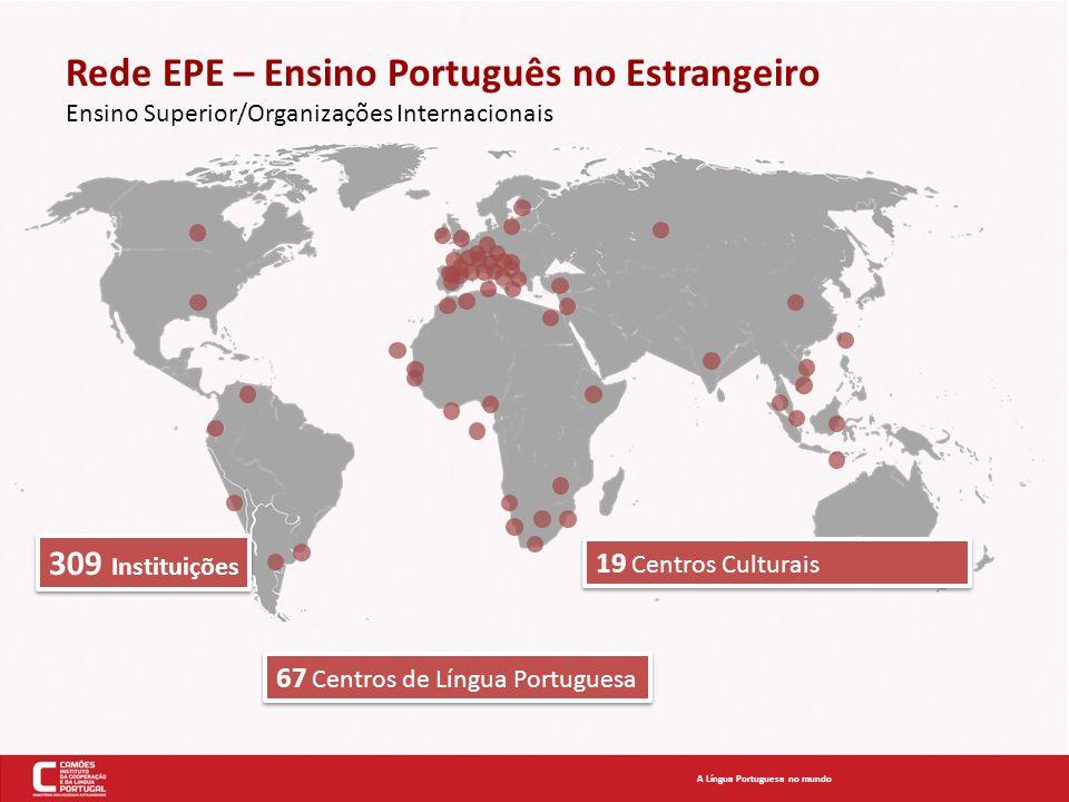 Rede EPE – Ensino Português no Estrangeiro Ensino Superior/Organizações Internacionais A Língua Portuguesa no mundo 309 Instituições 67 Centros de Lín