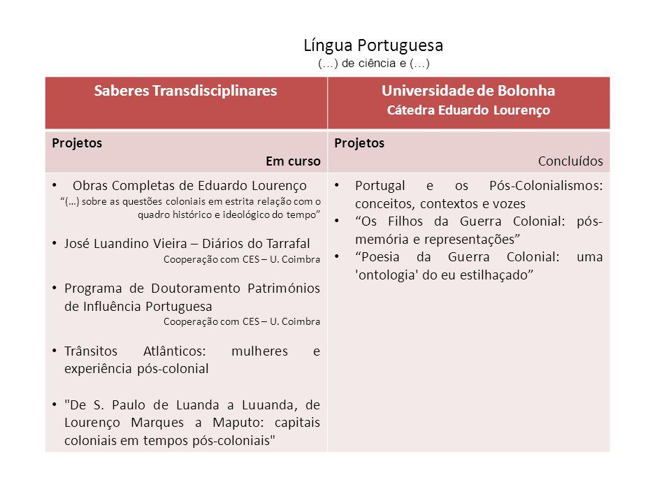 Língua Portuguesa (…) de ciência e (…) Saberes TransdisciplinaresUniversidade de Bolonha Cátedra Eduardo Lourenço Projetos Em curso Projetos Concluído