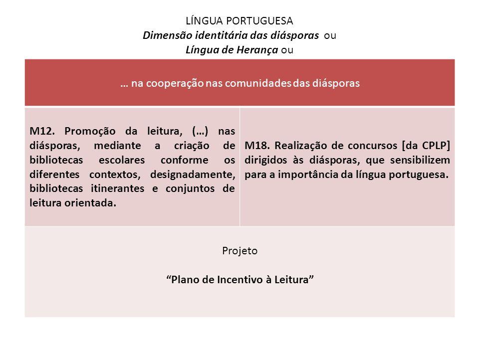 LÍNGUA PORTUGUESA Dimensão identitária das diásporas ou Língua de Herança ou … na cooperação nas comunidades das diásporas M12. Promoção da leitura, (