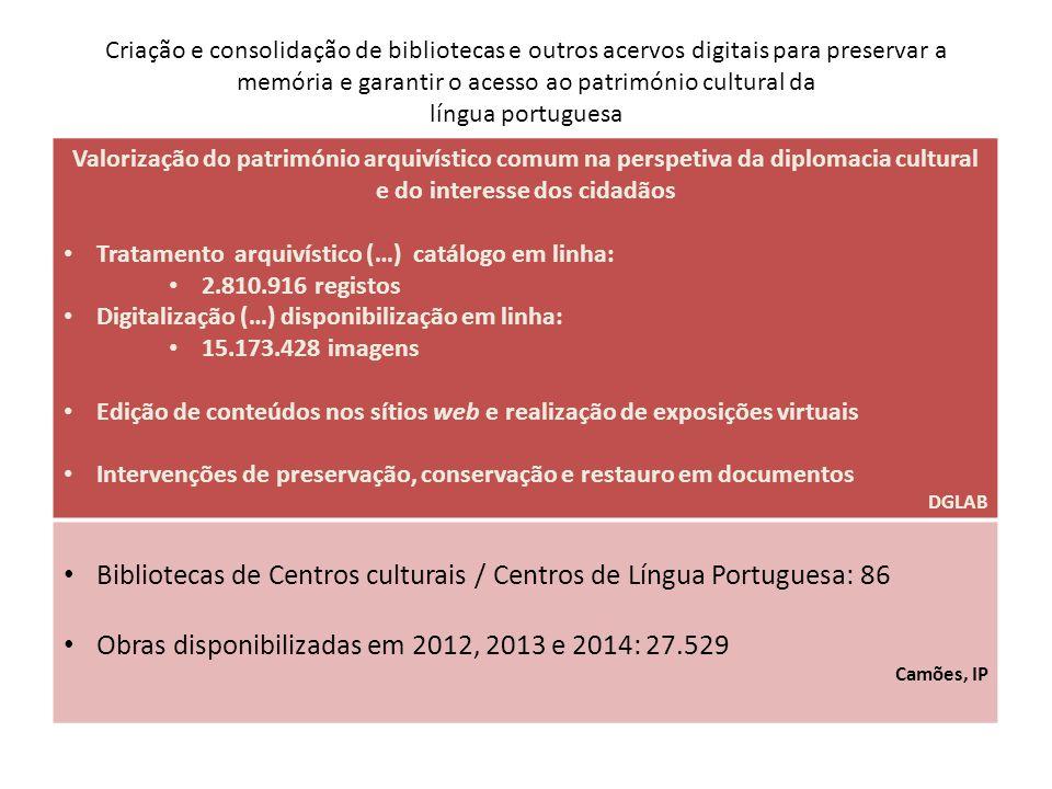 Criação e consolidação de bibliotecas e outros acervos digitais para preservar a memória e garantir o acesso ao património cultural da língua portugue