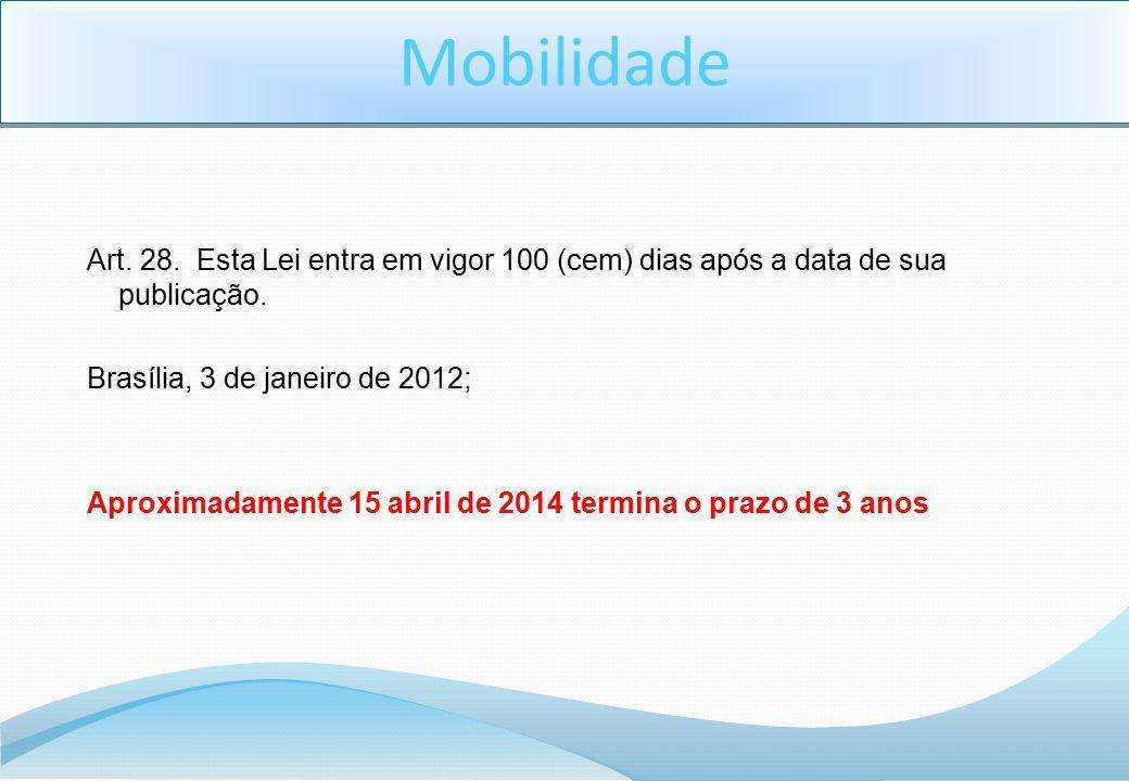 Art. 28. Esta Lei entra em vigor 100 (cem) dias após a data de sua publicação. Brasília, 3 de janeiro de 2012; Aproximadamente 15 abril de 2014 termin