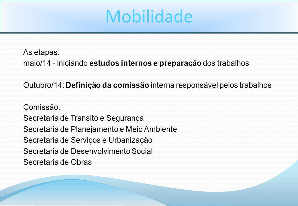 As etapas: maio/14 - iniciando estudos internos e preparação dos trabalhos Outubro/14: Definição da comissão interna responsável pelos trabalhos Comis