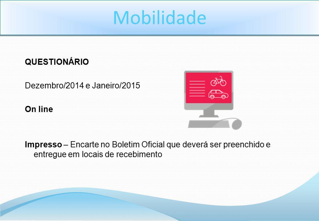 QUESTIONÁRIO Dezembro/2014 e Janeiro/2015 On line Impresso – Encarte no Boletim Oficial que deverá ser preenchido e entregue em locais de recebimento