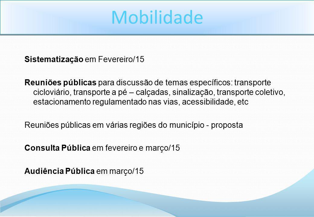Sistematização em Fevereiro/15 Reuniões públicas para discussão de temas específicos: transporte cicloviário, transporte a pé – calçadas, sinalização,